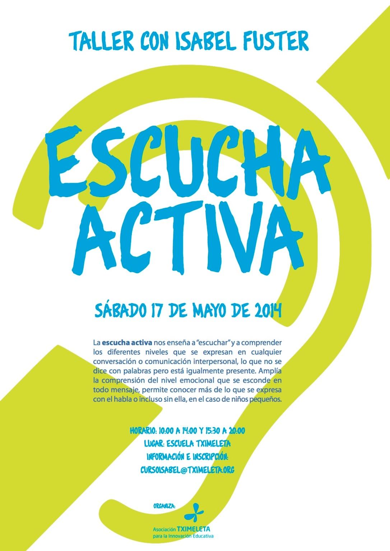 Escucha Activa en Pamplona, 17 de mayo, Escuela Tximeleta
